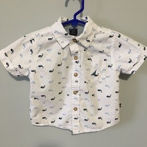 Nautica Blue & White Button Down Whale Shirt/ Top